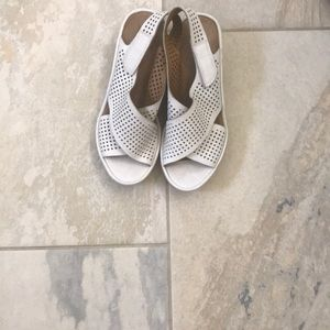 Clark's comfort white sandals with Velcro strap